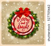 greeting card with wreath .... | Shutterstock .eps vector #527705662