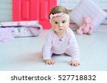 adorable smiling baby girl... | Shutterstock . vector #527718832