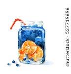hand drawn watercolor... | Shutterstock . vector #527719696