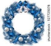 christmas wreath with fir... | Shutterstock .eps vector #527725078