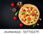 pizza with tomato  mozzarella ... | Shutterstock . vector #527732275