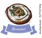 hummus colorful illustration.... | Shutterstock .eps vector #527747356
