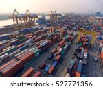 container ship in export and... | Shutterstock . vector #527771356