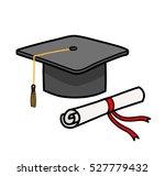 graduation cap diploma hat... | Shutterstock .eps vector #527779432