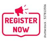 register now. badge with... | Shutterstock .eps vector #527813506