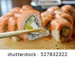 delicious rolls and sushi with...