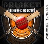 cricket ball with cross bat in... | Shutterstock .eps vector #527834278
