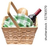 Summer Picnic Scene with Bread, Red Wine and a Picnic Basket.  Isolated on White with a Clipping Path. - stock photo
