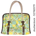 Lovely Floral Purse Perfect for Summer!  Isolated on White with a Clipping Path. - stock photo
