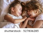 sister having fun in the bad... | Shutterstock . vector #527836285