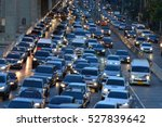 Small photo of Aerial blurred image of traffic along in Bangkok,Thailand. High-occupancy vehicle lane used at peak travel times. Urban infrastructure problem.