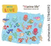 marine life icon set.with fish  ... | Shutterstock .eps vector #527840392