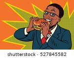 pop art man eating a burger