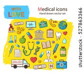 vector medical icon doddle set... | Shutterstock .eps vector #527863366
