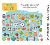 healthy lifestyle icon set with ... | Shutterstock .eps vector #527873422