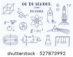 physics. hand sketches on the... | Shutterstock .eps vector #527873992
