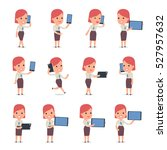 set of smart and cute character ... | Shutterstock .eps vector #527957632