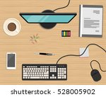 top view of a desk background.... | Shutterstock .eps vector #528005902