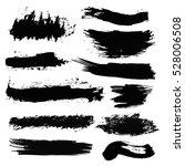 set of black paint  ink brush... | Shutterstock .eps vector #528006508