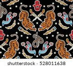 seamless indian pattern. set of ... | Shutterstock .eps vector #528011638