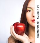 Young Woman With Red Apples In...