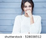 beautiful natural young smiling ... | Shutterstock . vector #528038512