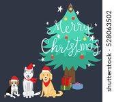 merry christmas beagles...   Shutterstock .eps vector #528063502