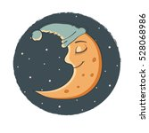 illustration a sleeping moon....