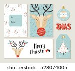 set of cute merry christmas... | Shutterstock .eps vector #528074005