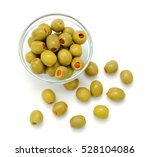 Small photo of pickled olives in bowl isolated on white background