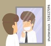 businessman  look in the mirror ... | Shutterstock .eps vector #528127096