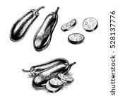 hand drawn set of eggplant.... | Shutterstock .eps vector #528137776