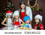 kids baking christmas cookies... | Shutterstock . vector #528140122
