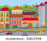 city with houses and trees | Shutterstock .eps vector #52815598