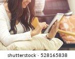 happy woman play social media... | Shutterstock . vector #528165838