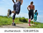 three female joggers running... | Shutterstock . vector #528189526