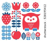 finnish inspired folk art... | Shutterstock .eps vector #528195412