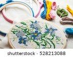 cross stitch set   hoop with... | Shutterstock . vector #528213088