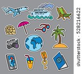 travel concept stickers  sea... | Shutterstock .eps vector #528216622