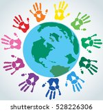 colorful hand prints around the ... | Shutterstock .eps vector #528226306