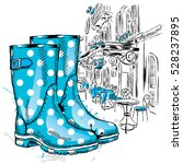 Rubber Boots On A Background O...