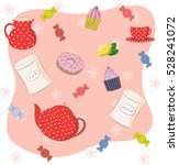 tea time set. dishes and sweets ...   Shutterstock .eps vector #528241072