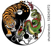 dragon and tiger yin yang... | Shutterstock .eps vector #528241972