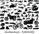 Stock vector set of transportation silhouettes cars planes bikes ships 52824283