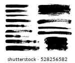 set of black paint  ink brush... | Shutterstock .eps vector #528256582
