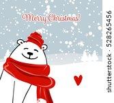 christmas card with white santa ... | Shutterstock .eps vector #528265456