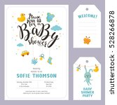baby shower set. invitation... | Shutterstock .eps vector #528266878