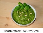 pesto sauce and ingredients... | Shutterstock . vector #528293998