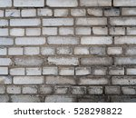 Wall Of White Brick And Cement...