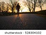 man walking alone backlit ... | Shutterstock . vector #528304102